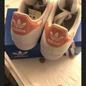 adidas Shoes - Brand new Adidas superstar white and pink sneakers